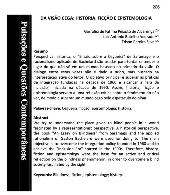Da visão cega- história, ficção e epistemologia.