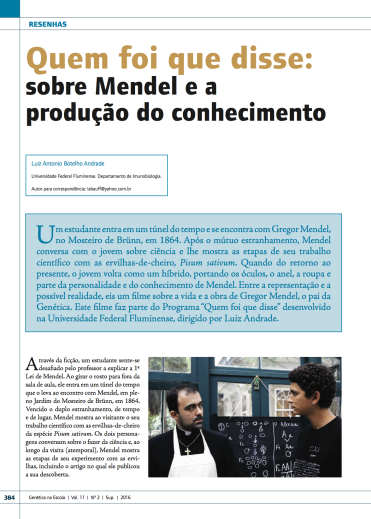 Mendel e a produção do conhecimento1