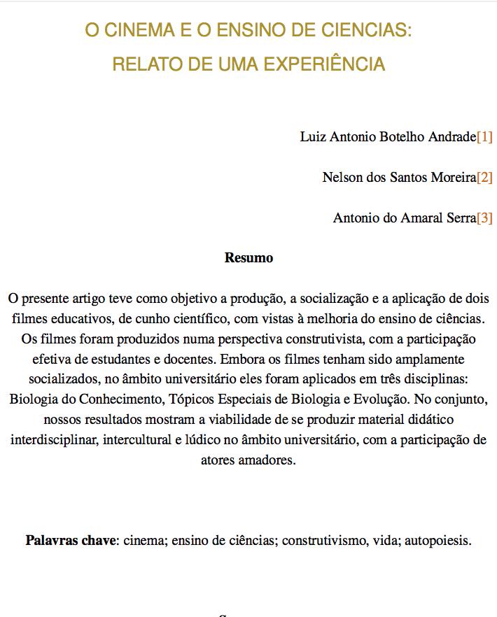 O CINEMA E O ENSINO DE CIENCIAS RELATO DE UMA EXPERIÊNCIA