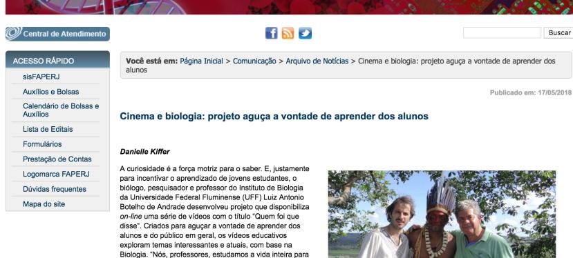 LabaCiências no site da Faperj: Cinema e biologia: projeto aguça a vontade de aprender dosalunos